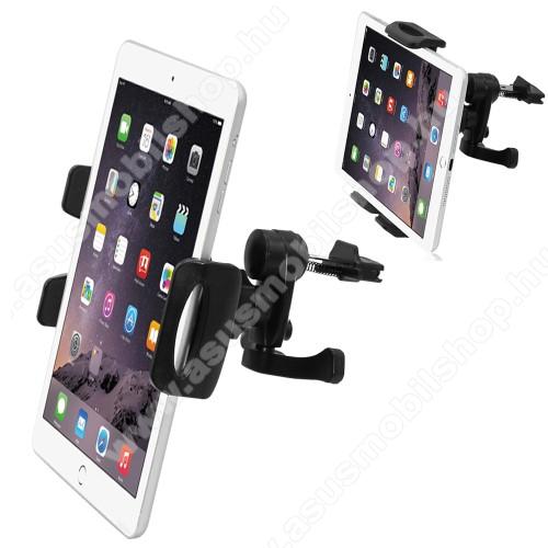 Univerzális autós / gépkocsi TABLET PC / telefon tartó - szellőzőrácsra helyezhető, 360°-ban elforgatható, 100-210mm-ig állítható bölcső, 4-11