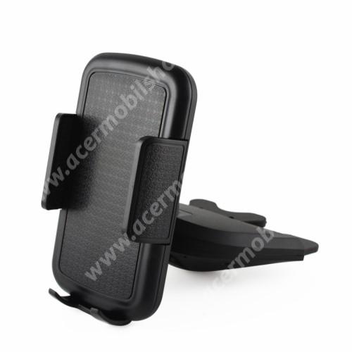 UNIVERZÁLIS autós / gépkocsi tartó - CD / DVD lejátszóba helyezhető, 70-92mm-ig állítható bölcsővel - FEKETE