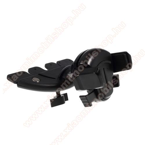 UNIVERZÁLIS autós / gépkocsi tartó - CD / DVD lejátszóba helyezhető, 64-85mm-ig állítható bölcsővel - FEKETE