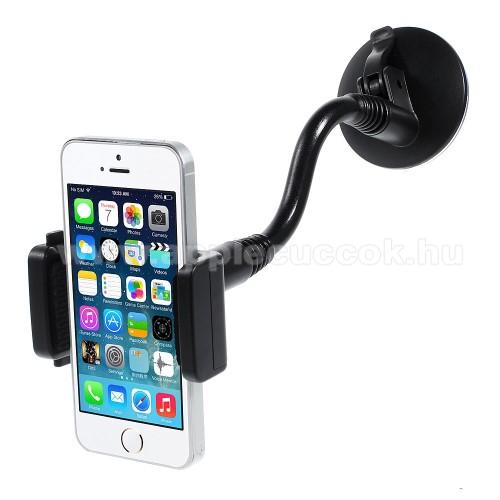 APPLE iPhone SEUNIVERZÁLIS autós / gépkocsi tartó - elforgatható, flexibilis tapadó korongos kar - 56-87 mm-ig állítható bölcső - FEKETE - PRÉMIUM