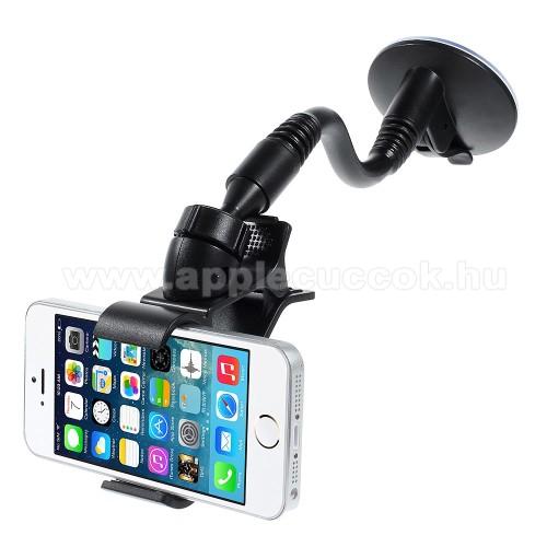 APPLE IPhone 4SUNIVERZÁLIS autós / gépkocsi tartó - elforgatható, flexibilis tapadó korongos kar, 120 mm-ig állítható csipeszes bölcső - FEKETE - PRÉMIUM