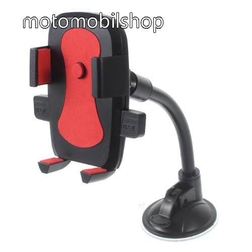 MOTOROLA MPX200 UNIVERZÁLIS autós / gépkocsi tartó - elforgatható, flexibilis tapadó korongos kar - 58-81 mm-ig állítható bölcső - FEKETE / PIROS