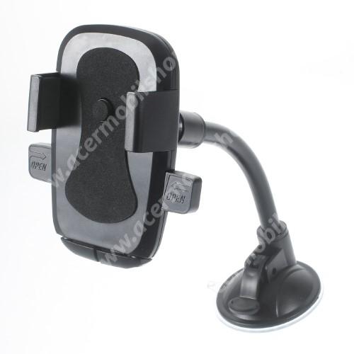 ASUS Zenfone Live (L1) (ZA550KL) UNIVERZÁLIS autós / gépkocsi tartó - elforgatható, flexibilis tapadó korongos kar - 58-81 mm-ig állítható bölcső - FEKETE