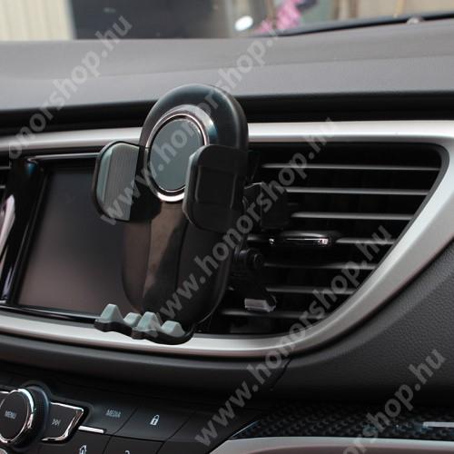 """HUAWEI Honor V40 5G UNIVERZÁLIS autós / gépkocsi tartó - FEKETE / SZÜRKE - szellőzőrácsra rögzíthető, 4.7-6.5""""-os készülékekig"""