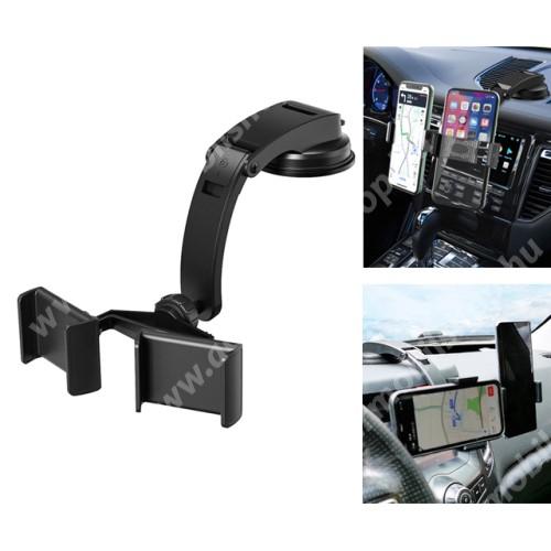 ACER Liquid Z3 UNIVERZÁLIS autós / gépkocsi tartó - FEKETE - műszerfalra rögzíthető, 360°-ban elforgatható, 55-80mmig nyíló bölcső, egyszerre 2 telefonnal is használható!