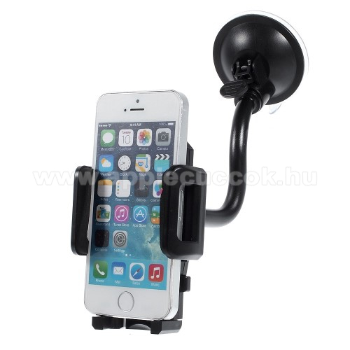 APPLE iPhone SEUNIVERZÁLIS autós / gépkocsi tartó - flexibilis tapadó korongos kar - 45-105 mm-ig állítható bölcső - FEKETE - PRÉMIUM