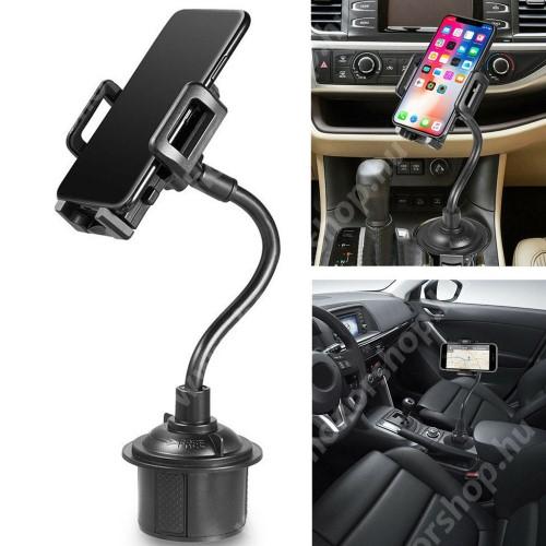 """HUAWEI Honor 9 UNIVERZÁLIS autós / gépkocsi tartó - pohártartóba rögzíthető, 360°-ban forgatható, 3-6.5""""-os készülékekig használható - FEKETE"""