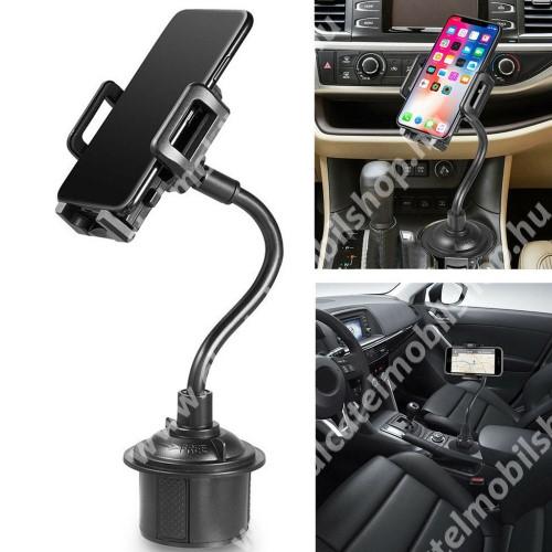 """UNIVERZÁLIS autós / gépkocsi tartó - pohártartóba rögzíthető, 360°-ban forgatható, 3-6.5""""-os készülékekig használható - FEKETE"""