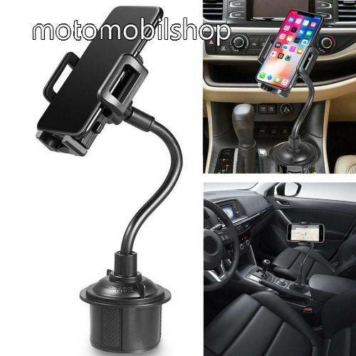 """MOTOROLA Moto E4 UNIVERZÁLIS autós / gépkocsi tartó - pohártartóba rögzíthető, 360°-ban forgatható, 3-6.5""""-os készülékekig használható - FEKETE"""
