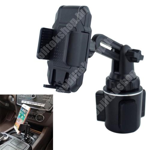 """ALCATEL Flash (2017) UNIVERZÁLIS autós / gépkocsi tartó - pohártartóba rögzíthető, 360°-ban forgatható, 4-6.5""""-os készülékekig használható - FEKETE"""