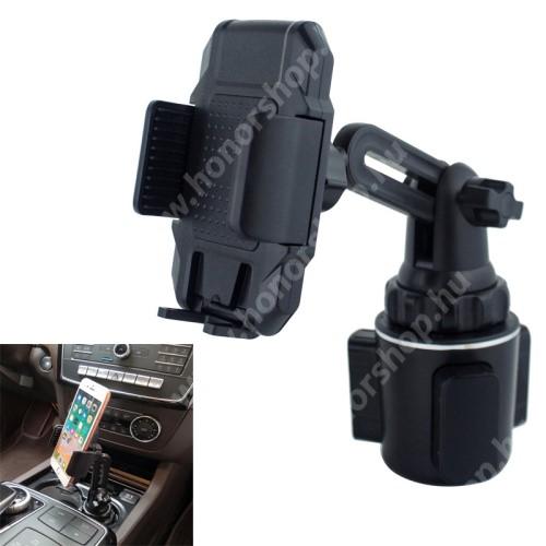 """HUAWEI Honor V40 5G UNIVERZÁLIS autós / gépkocsi tartó - pohártartóba rögzíthető, 360°-ban forgatható, 4-6.5""""-os készülékekig használható - FEKETE"""
