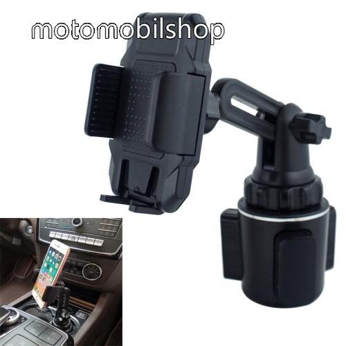 """UNIVERZÁLIS autós / gépkocsi tartó - pohártartóba rögzíthető, 360°-ban forgatható, 4-6.5""""-os készülékekig használható - FEKETE"""