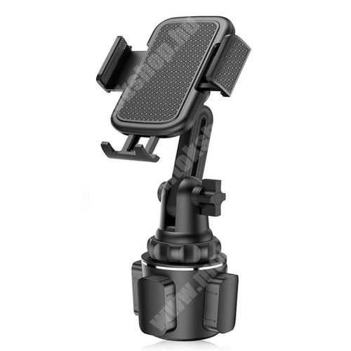 HomTom H17 Pro UNIVERZÁLIS autós / gépkocsi tartó - pohártartóba rögzíthető, 360°-ban forgatható - FEKETE