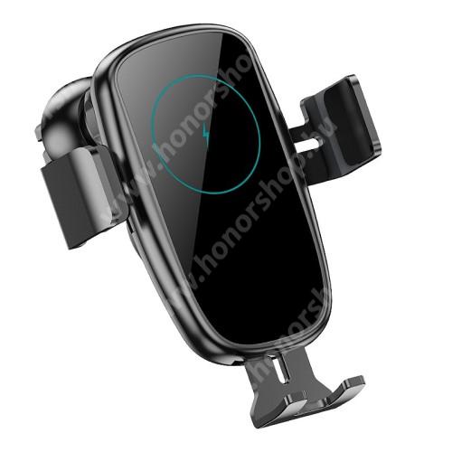 HUAWEI Honor V40 5G UNIVERZÁLIS autós / gépkocsi tartó - szellőzőrácsra rögzíthető, infravörös érzékelő automatikusan nyit és zár - QI wireless vezetéknélküli funkció, 9V / 1,67A, 15W, Type-C bemenet, fogadóegység nélkül! - FEKETE
