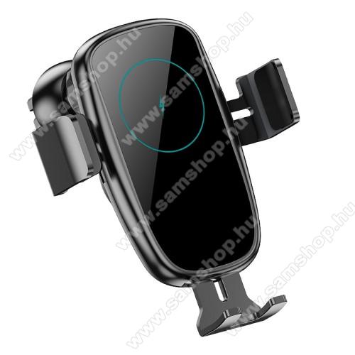 UNIVERZÁLIS autós / gépkocsi tartó - szellőzőrácsra rögzíthető, infravörös érzékelő automatikusan nyit és zár - QI wireless vezetéknélküli funkció, 9V / 1,67A, 15W, Type-C bemenet, fogadóegység nélkül! - FEKETE