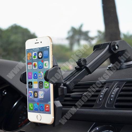 """ALCATEL A30 UNIVERZÁLIS autós / gépkocsi tartó - tapadókorongos, szélvédőre vagy műszerfalra rögzíthető, 360°-ban forgatható, kihúzható 16 cm-es kar, 4-6.5""""-os készülékekhez - FEKETE"""