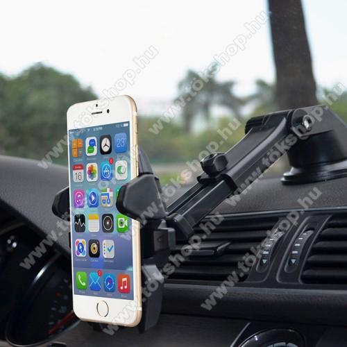 UNIVERZÁLIS autós / gépkocsi tartó - tapadókorongos, szélvédőre vagy műszerfalra rögzíthető, 360°-ban forgatható, kihúzható 16 cm-es kar, 4-6.5