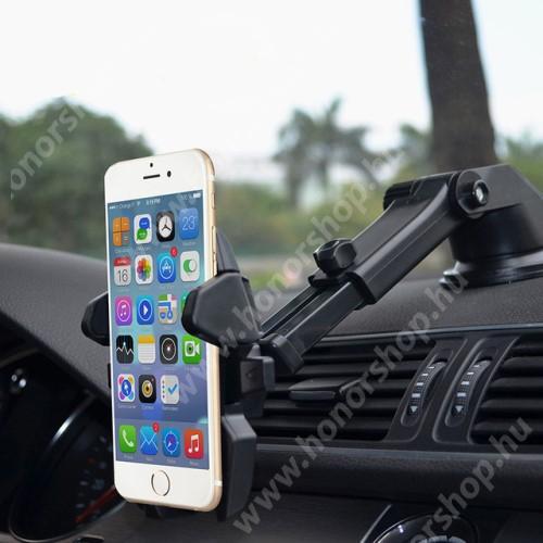 """HUAWEI Honor V40 5G UNIVERZÁLIS autós / gépkocsi tartó - tapadókorongos, szélvédőre vagy műszerfalra rögzíthető, 360°-ban forgatható, kihúzható 16 cm-es kar, 4-6.5""""-os készülékekhez - FEKETE"""