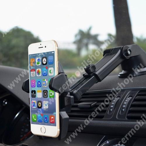 """ACER Liquid Z3 UNIVERZÁLIS autós / gépkocsi tartó - tapadókorongos, szélvédőre vagy műszerfalra rögzíthető, 360°-ban forgatható, kihúzható 16 cm-es kar, 4-6.5""""-os készülékekhez - FEKETE"""