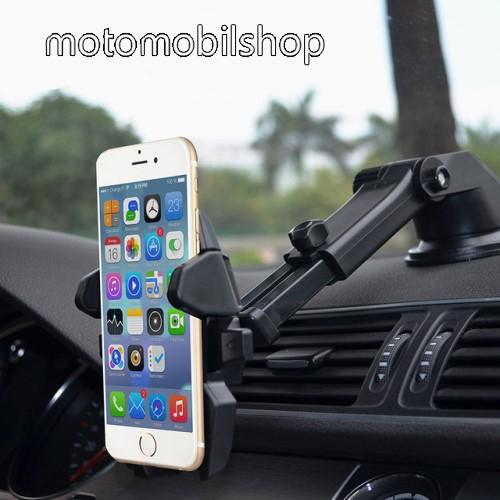 """UNIVERZÁLIS autós / gépkocsi tartó - tapadókorongos, szélvédőre vagy műszerfalra rögzíthető, 360°-ban forgatható, kihúzható 16 cm-es kar, 4-6.5""""-os készülékekhez - FEKETE"""