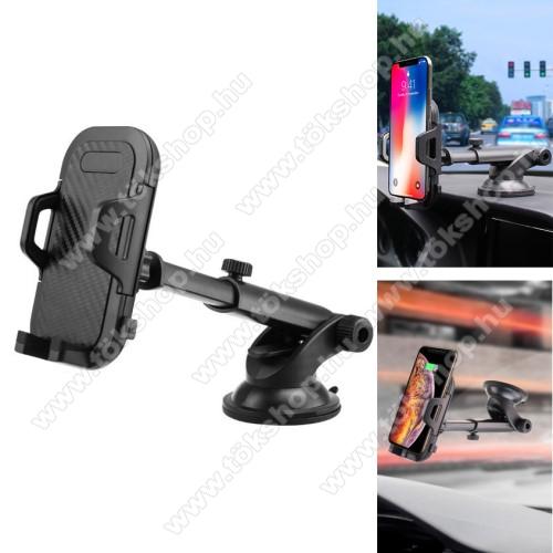 UNIVERZÁLIS autós / gépkocsi tartó - tapadókorongos, szélvédőre vagy műszerfalra rögzíthető, 360°-ban forgatható, kihúzható 114-203mm-es kar, 55-100mm-ig nyíló bölcső - FEKETE