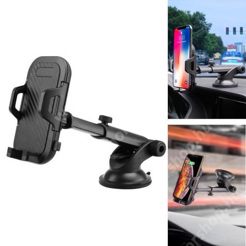 HUAWEI Honor 3 UNIVERZÁLIS autós / gépkocsi tartó - tapadókorongos, szélvédőre vagy műszerfalra rögzíthető, 360°-ban forgatható, kihúzható 114-203mm-es kar, 55-100mm-ig nyíló bölcső - FEKETE