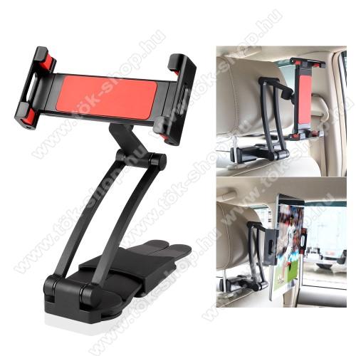 UNIVERZÁLIS autós tablet PC tartó - fejtámla rúdra rögzíthető, 160-260mm-ig állítható bölcsővel, 360°-ban forgatható - FEKETE