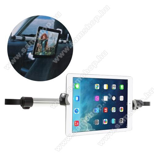 UNIVERZÁLIS autós tablet PC tartó - fejtámla rúdra rögzíthető, 360°-ban forgatható, 240-410mm-ig állítható bölcsővel