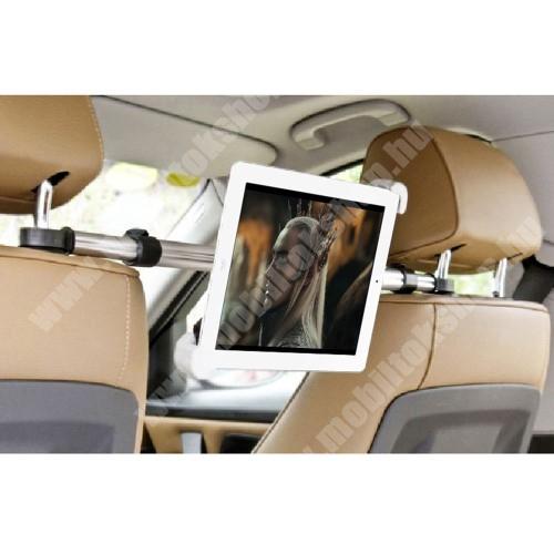 UNIVERZÁLIS autós tablet PC tartó - fejtámla rúdra rögzíthető, 185-300mm-ig állítható bölcsővel