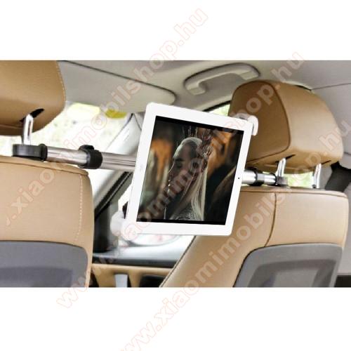 UNIVERZÁLIS autós tablet PC tartó - fejtámla rúdra rögzíthető, 185-300mm-ig állítható bölcsővel, 52-73cm-ig állítható fejtámlák közti rögzítő sínnel