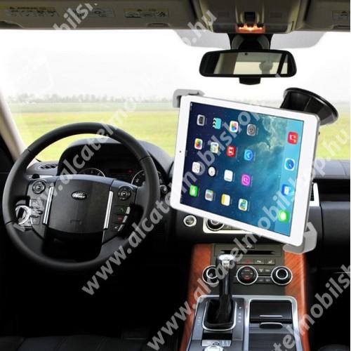 """UNIVERZÁLIS autós tablet PC tartó - tapadókorongos, szélvédőre rögzíthető, 360°-ban forgatható, 7-12""""-os készülékekhez - FEKETE"""