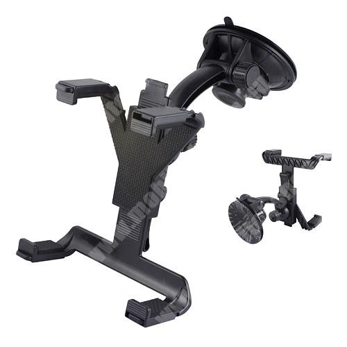 """UNIVERZÁLIS autós tablet PC tartó - tapadókorongos, szélvédőre rögzíthető, 360°-ban forgatható, szélessége 100mm ~ 145mm, hossza 105mm ~ 195mm, 7-10""""-os készülékekhez - FEKETE"""