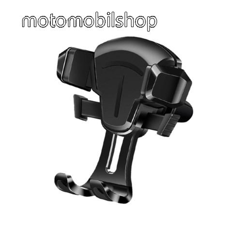 """UNIVERZÁLIS autós tartó / állvány - szellőzőrácsra rögzíthető, 65-88mm-ig állítható bölcső, 4-6.5""""-os készülékekhez - FEKETE"""