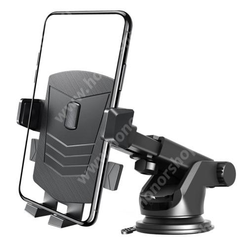 HUAWEI Honor V40 5G UNIVERZÁLIS autós tartó / állvány - tapadókorongos szélvédőre, szellőzőrácsra és műszerfalra rögzíthető, 360°-ban forgatható, kihúzható teleszkópos kar, 65-100mm-ig állítható bölcső - FEKETE