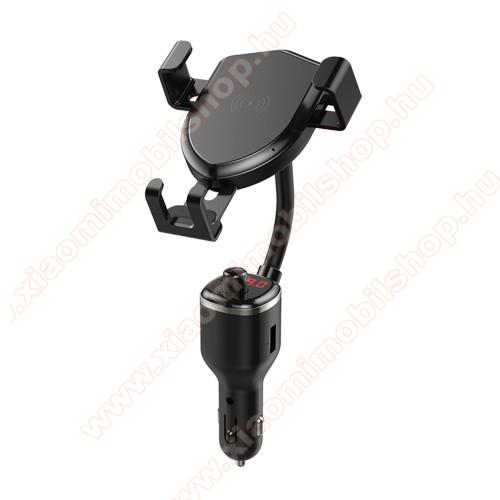 UNIVERZÁLIS autós tartó / kihangosító - szivargyújtó töltő adapterbe helyezhető + szivargyújtó és 1db USB aljzattal (5V /2.4A), FM transmitterrel csatlakozik autórádióra, SD kártya foglalat, QI vezetéknélküli funkció 10W, fogadóegység nélkül! - FEKETE