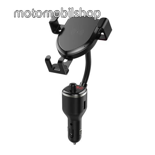 MOTOROLA Fire (XT311) UNIVERZÁLIS autós tartó / kihangosító - szivargyújtó töltő adapterbe helyezhető + szivargyújtó és 1db USB aljzattal (5V /2.4A), FM transmitterrel csatlakozik autórádióra, SD kártya foglalat, QI vezetéknélküli funkció 10W, fogadóegység nélkül! - FEKETE
