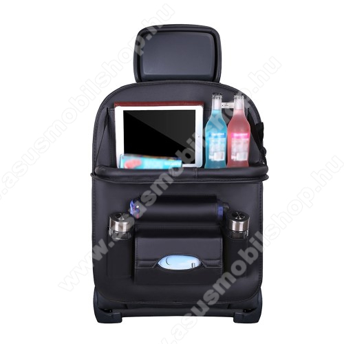 UNIVERZÁLIS Autóülésre rögzíthető több rekeszes tároló / Háttámlavédő  - műbőr, könnyen felrögzíthető, maximum 15kg-ig terhelhető, cseppálló,  590 x 420mm - FEKETE