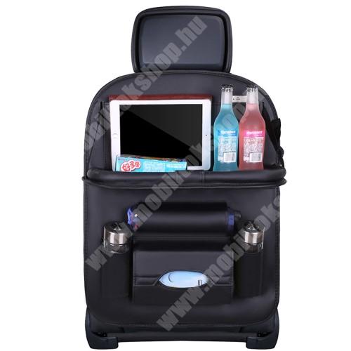 Blackphone UNIVERZÁLIS Autóülésre rögzíthető több rekeszes tároló / Háttámlavédő  - műbőr, könnyen felrögzíthető, cseppálló, 65 x 50cm - FEKETE