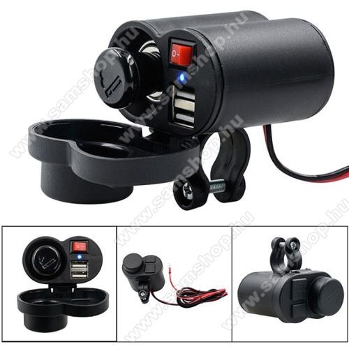 SAMSUNG SGH-X140UNIVERZÁLIS beépíthető szivargyújtós töltő / motoros töltő - Alumínium, kapcsoló gomb, extra 2x USB aljzat, csepp és porálló, 22mm vastag kormányra rögzíthető, 120cm-es biztosítékkal ellátott vezeték, 5V/2A, LED - FEKETE