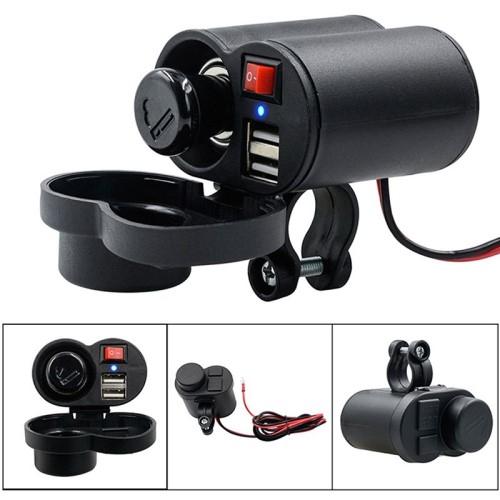 UNIVERZÁLIS beépíthető szivargyújtós töltő / motoros töltő - Alumínium, kapcsoló gomb, extra 2x USB aljzat, csepp és porálló, 22mm vastag kormányra rögzíthető, 120cm-es biztosítékkal ellátott vezeték, 5V/2A, LED - FEKETE