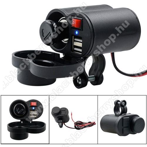 BLACKBERRY 8100UNIVERZÁLIS beépíthető szivargyújtós töltő / motoros töltő - Alumínium, kapcsoló gomb, extra 2x USB aljzat, csepp és porálló, 22mm vastag kormányra rögzíthető, 120cm-es biztosítékkal ellátott vezeték, 5V/2A, LED - FEKETE