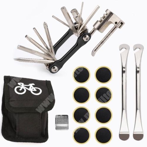 PRESTIGIO MultiPad 8.0 PRO DUO UNIVERZÁLIS biciklis / kerékpáros defektjavító készlet / csavarkulcs - 12 az 1-ben csavarkulcs, 8x ragasztható folt, tároló táska, 2x külső gumi leszedő - FEKETE