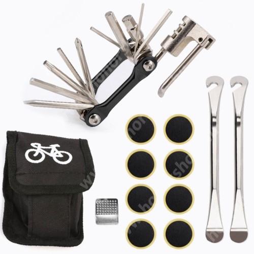 HUAWEI Honor V40 5G UNIVERZÁLIS biciklis / kerékpáros defektjavító készlet / csavarkulcs - 12 az 1-ben csavarkulcs, 8x ragasztható folt, tároló táska, 2x külső gumi leszedő - FEKETE