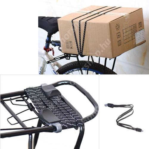 HUAWEI Honor V40 5G UNIVERZÁLIS biciklis / kerékpáros gumipók / csomagrögzítő - 1db, 68cm hosszú, duplakampós - FEKETE