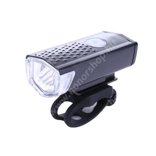 HUAWEI Honor V40 5G UNIVERZÁLIS biciklis / kerékpáros lámpa - 300LM, 2.5 óra erős világítás, 360°-ban forgatható, 4 óra halványabb világítás, 12 óra villogás, kormányra rögzíthető, 800mAh beépített akkumulátor, 6.5 x 2.8 x 3.5cm - FEKETE