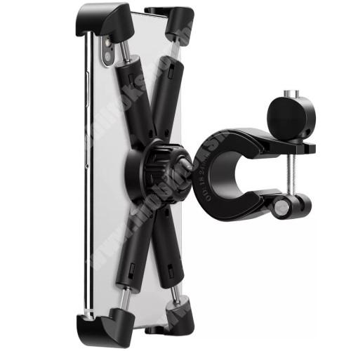 """Elephone P3000 UNIVERZÁLIS biciklis / kerékpáros / motoros tartó konzol mobiltelefon készülékekhez - FEKETE - 360°-ban forgatható, 21-26mm átmérőjű kormányra alkalmas, 4,7-8""""-os készülékekhez - min 142 x 72mm, max 180 x 118mm-ig nyíló bölcsővel"""