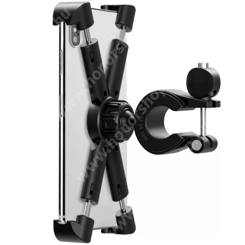 """HUAWEI Honor 9 UNIVERZÁLIS biciklis / kerékpáros / motoros tartó konzol mobiltelefon készülékekhez - FEKETE - 360°-ban forgatható, 21-26mm átmérőjű kormányra alkalmas, 4,7-8""""-os készülékekhez - min 142 x 72mm, max 180 x 118mm-ig nyíló bölcsővel"""