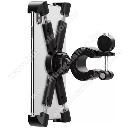 UNIVERZÁLIS biciklis / kerékpáros / motoros tartó konzol mobiltelefon készülékekhez - FEKETE - 360°-ban forgatható, 21-26mm átmérőjű kormányra alkalmas, 4,7-8