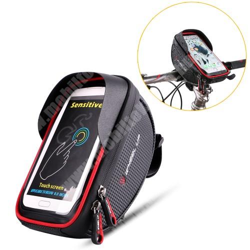 """NOKIA 3.1 A (2019) UNIVERZÁLIS biciklis / kerékpáros tartó konzol mobiltelefon készülékekhez - cseppálló védő tokos kialakítás, cipzár, 6"""" készülékekhez - FEKETE / PIROS"""