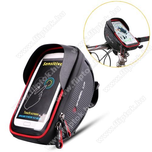 MOTOROLA One MacroUNIVERZÁLIS biciklis / kerékpáros tartó konzol mobiltelefon készülékekhez - cseppálló védő tokos kialakítás, cipzár, 6